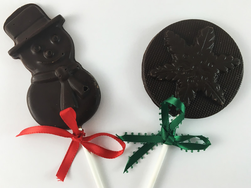 Chocolate Christmas Lollipops / Gourmet Artisan Christmas Chocolate Confections / Gourmet Artisan Holiday Chocolates Confections